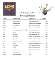 AC Bowling Team Posts Schedule