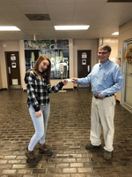 Addison Tidwell wins the Perfect Attendance Prize for First Nine Weeks