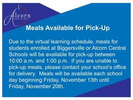 Meals Available for Pick-Up