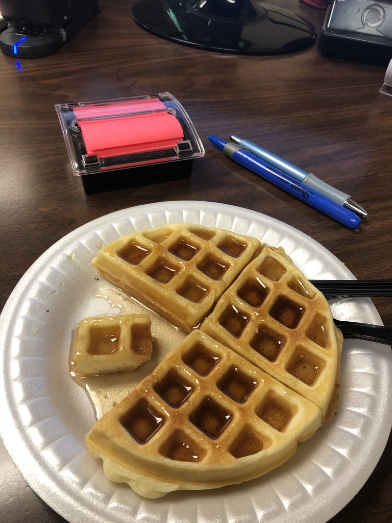 Culinary Arts Makes Waffles for Monday -- Fun Day!