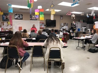 Maggie Macias, RN Speaking with Health Science II Students