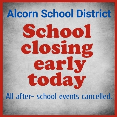 Due to the threat of severe weather, Alcorn School District will dismiss at 2PM today, December 16th. Pre-K will be dismissed at 1:30PM. All after school activities and meetings have been cancelled.