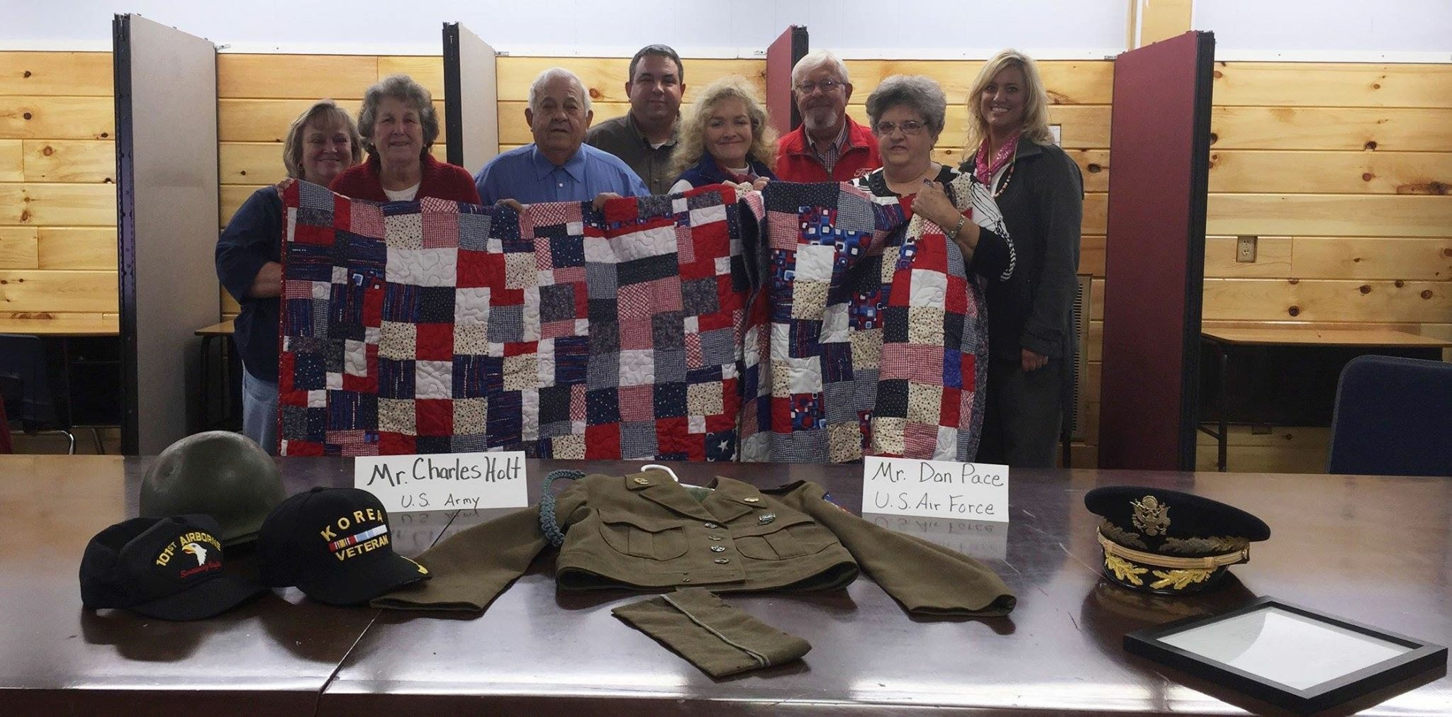 Charles Holt US Army and Don Pace US AirForce. Each veteran was given a hand sewn quilt that the students made. That project was completed by Mrs. Tracy Mitchell and her class